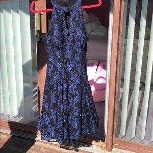 Like New, Blue/Black Glitter Nightway Dress Sz 10